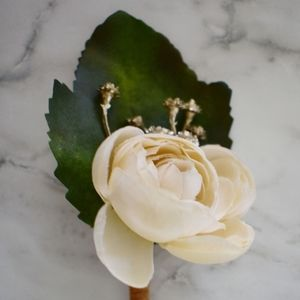Accessories - Handmade Set of 4 Faux Ivory & Gold Boutonnieres
